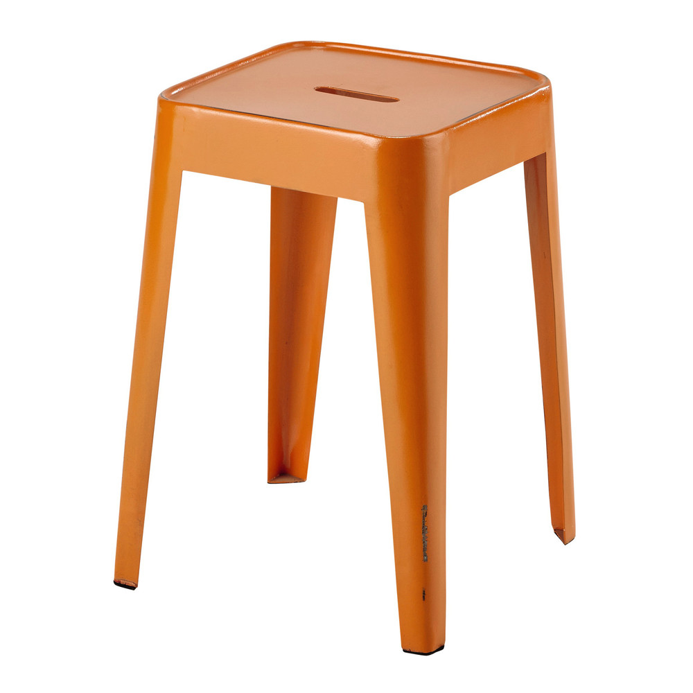 tabouret en m tal orange tom maisons du monde. Black Bedroom Furniture Sets. Home Design Ideas