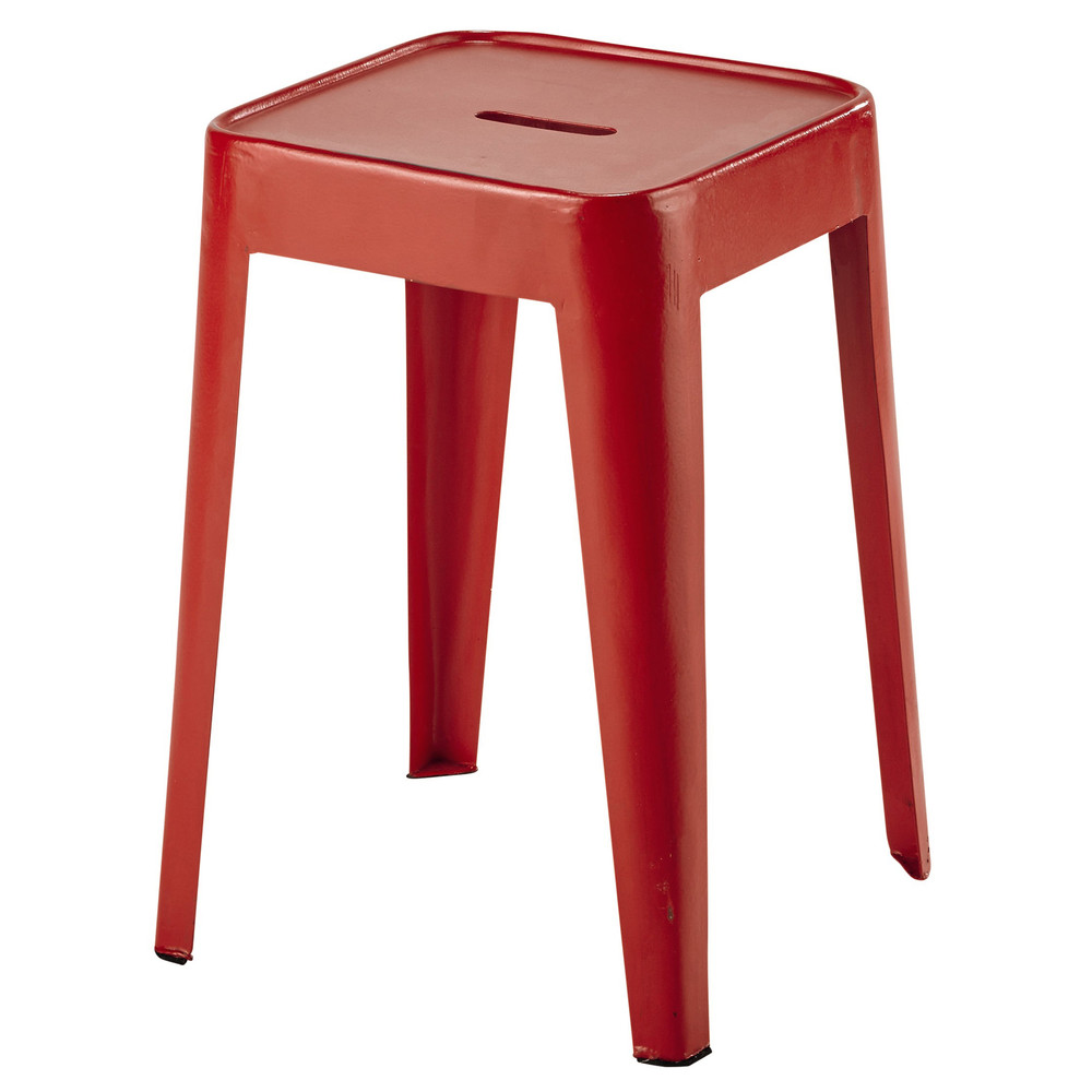 tabouret en m tal rouge tom maisons du monde. Black Bedroom Furniture Sets. Home Design Ideas