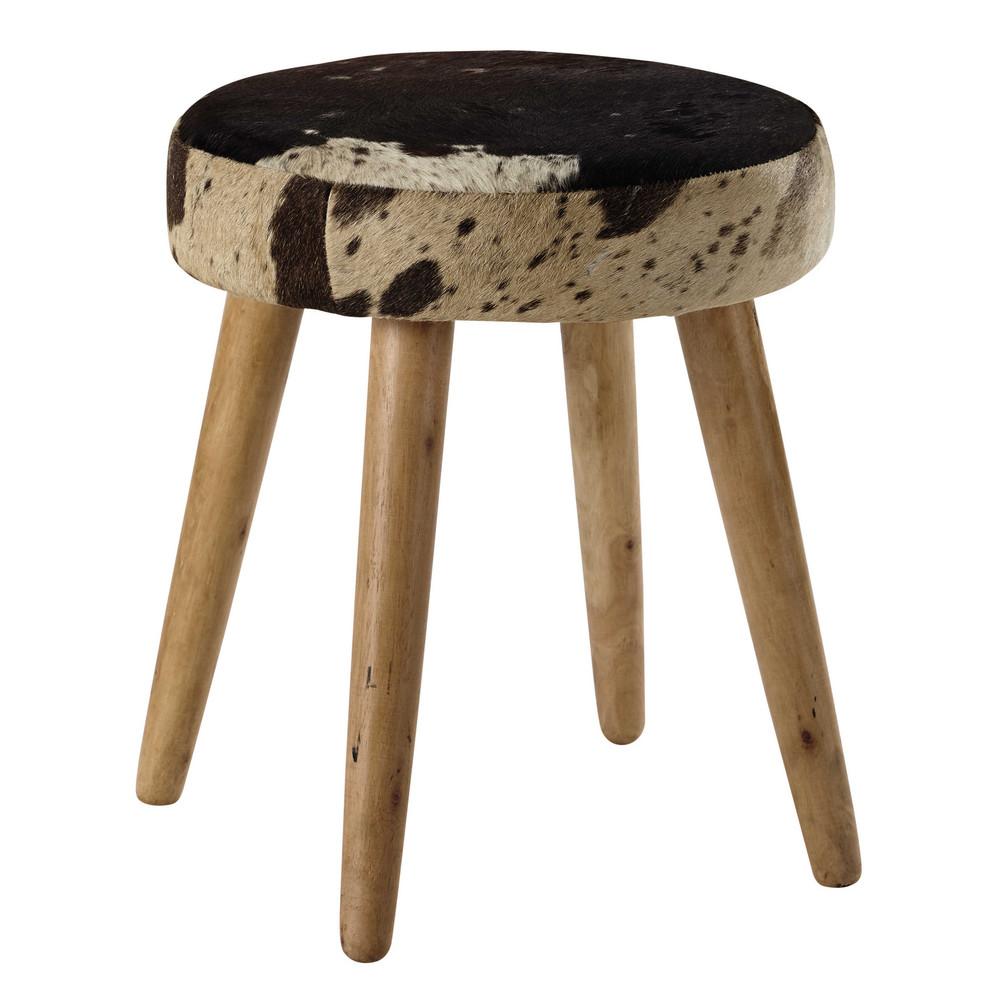 tabouret en peau de vache et manguier alexy maisons du monde. Black Bedroom Furniture Sets. Home Design Ideas