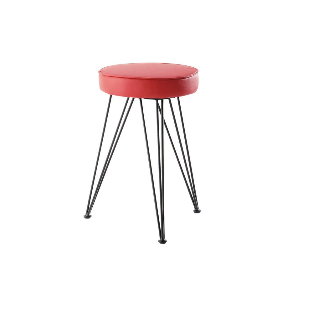 tabouret en polyur thane et m tal rouge caps maisons du monde. Black Bedroom Furniture Sets. Home Design Ideas