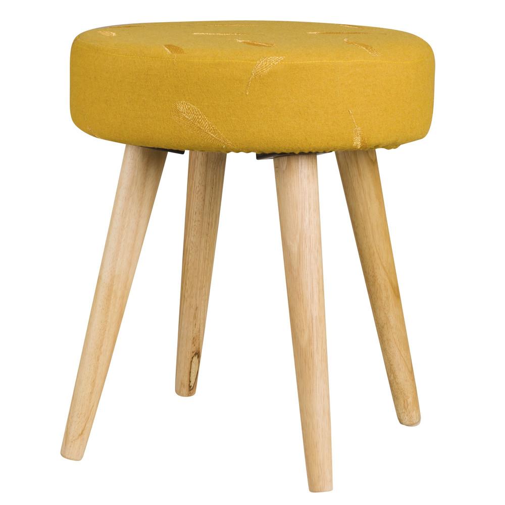 tabouret en tissu jaune moutarde maisons du monde. Black Bedroom Furniture Sets. Home Design Ideas