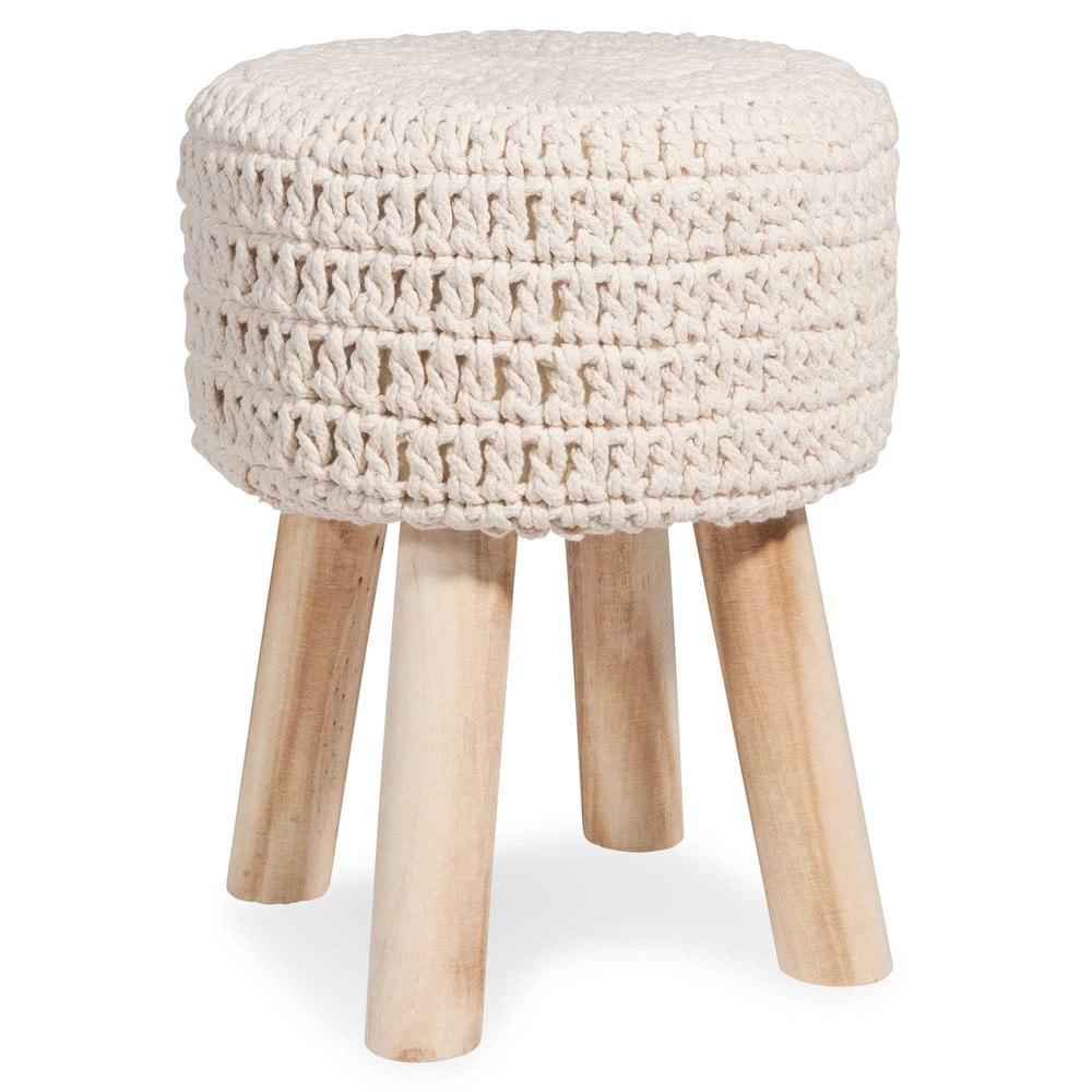 tabouret en tricot cru trisha maisons du monde. Black Bedroom Furniture Sets. Home Design Ideas
