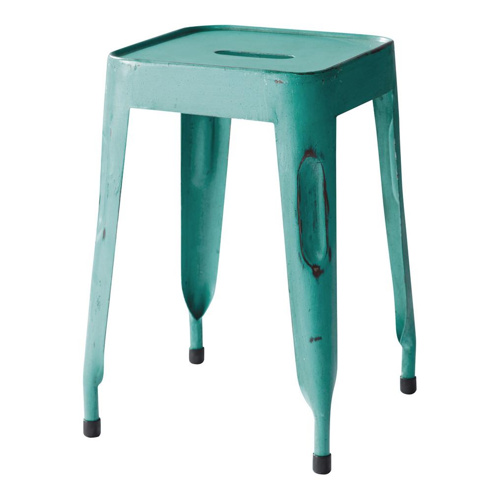 tabouret indus en m tal turquoise jim maisons du monde. Black Bedroom Furniture Sets. Home Design Ideas