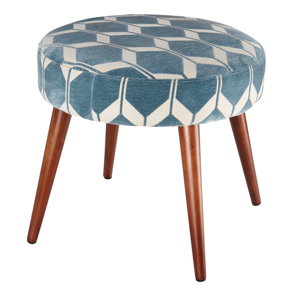 tabouret jacquard de velours blanc et bleu edge maisons du monde. Black Bedroom Furniture Sets. Home Design Ideas