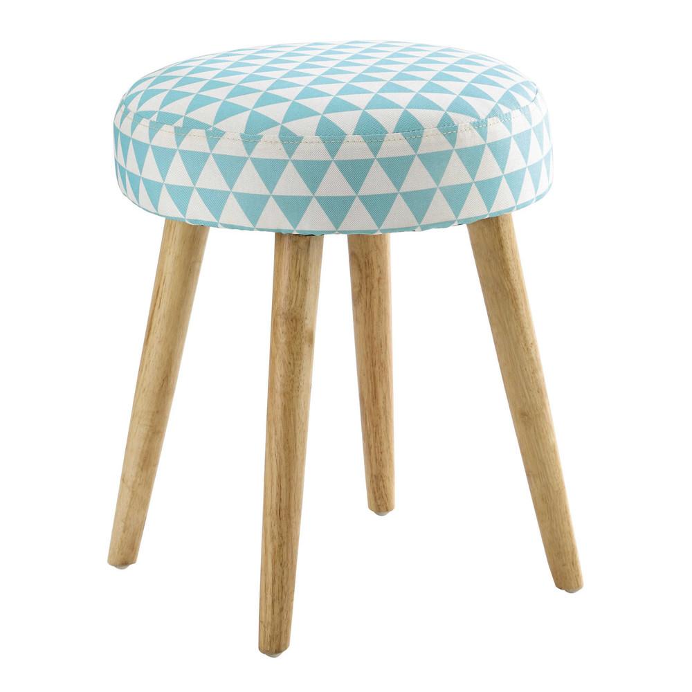 tabouret motif triangles en coton bleu et bois pin 39 up. Black Bedroom Furniture Sets. Home Design Ideas