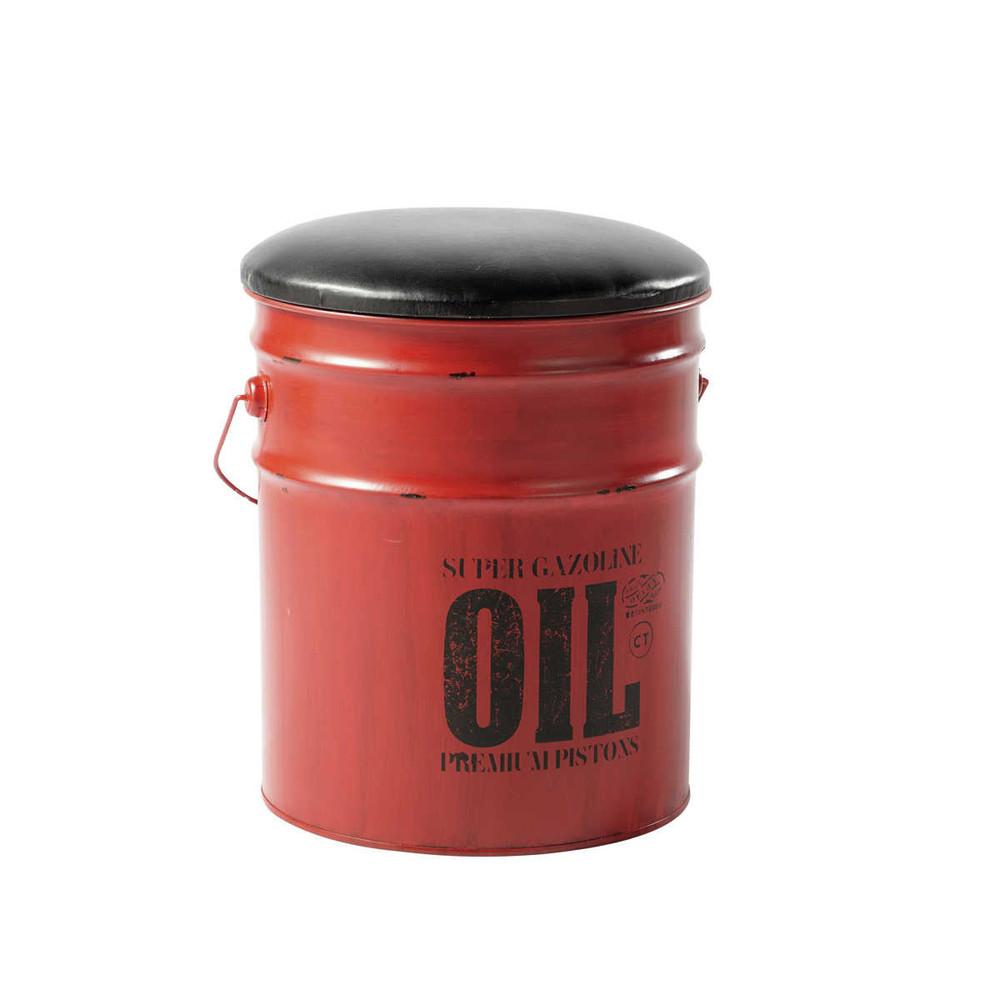 Tabouret pouf en m tal rouge et noir cargo maisons du monde - Tabouret bidon d huile ...