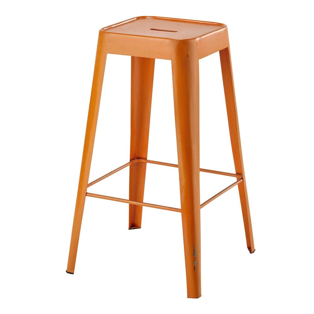 taburete de bar de metal naranja tom maisons du monde