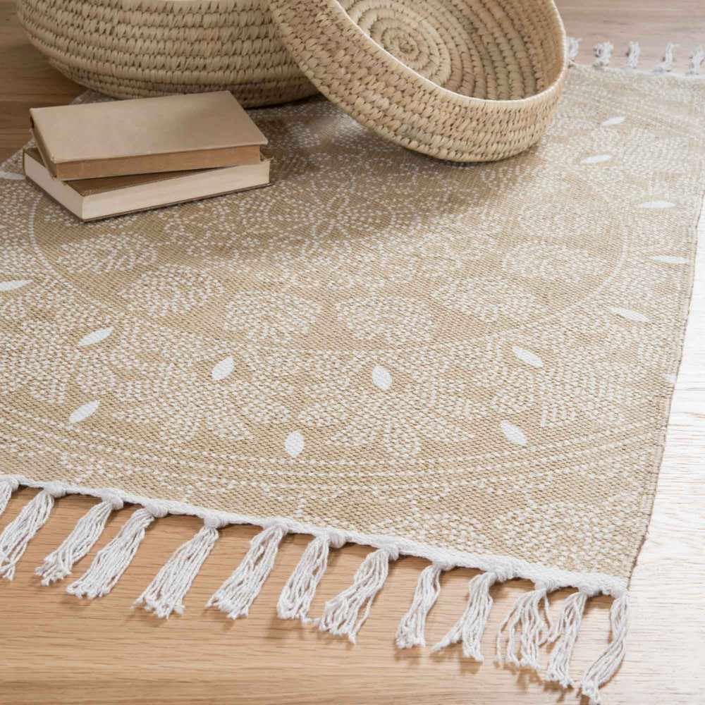 tapis franges en coton beige 60 x 90 cm yogya maisons du monde. Black Bedroom Furniture Sets. Home Design Ideas