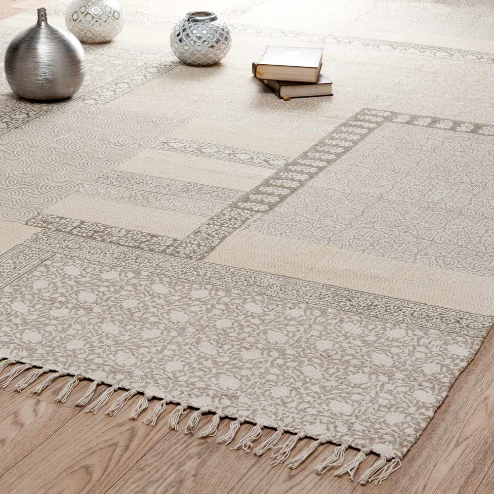 tapis poils courts en coton beige 160 x 230 cm menara. Black Bedroom Furniture Sets. Home Design Ideas