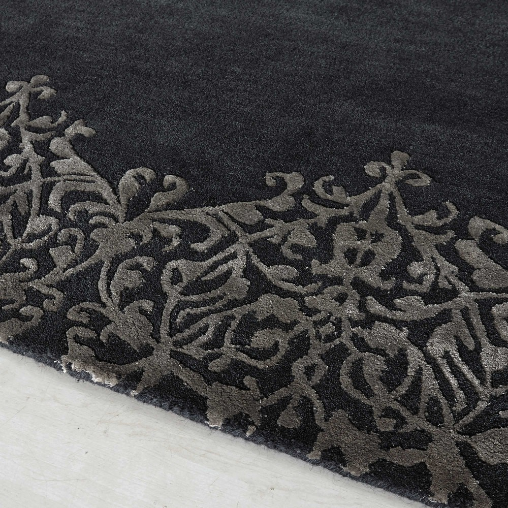 tapis poils courts en laine gris 160 x 230 cm arabesque maisons du monde. Black Bedroom Furniture Sets. Home Design Ideas