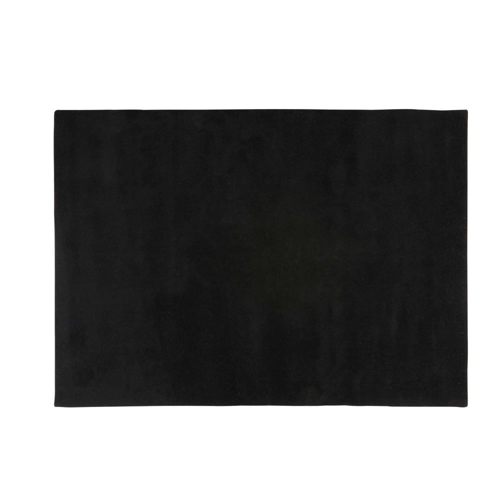 tapis poils courts en laine noir 140 x 200 cm soft. Black Bedroom Furniture Sets. Home Design Ideas