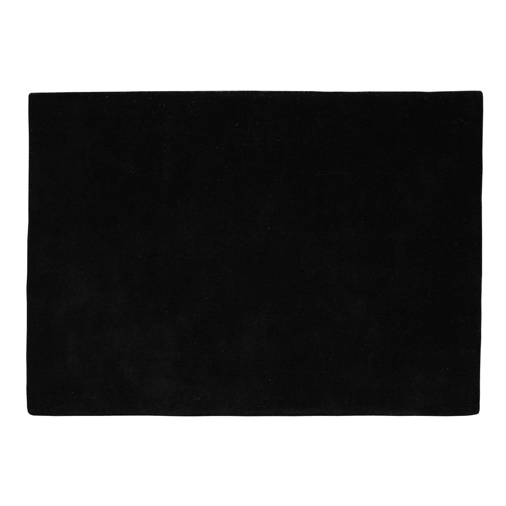 tapis poils courts en laine noir 200 x 200 cm soft. Black Bedroom Furniture Sets. Home Design Ideas