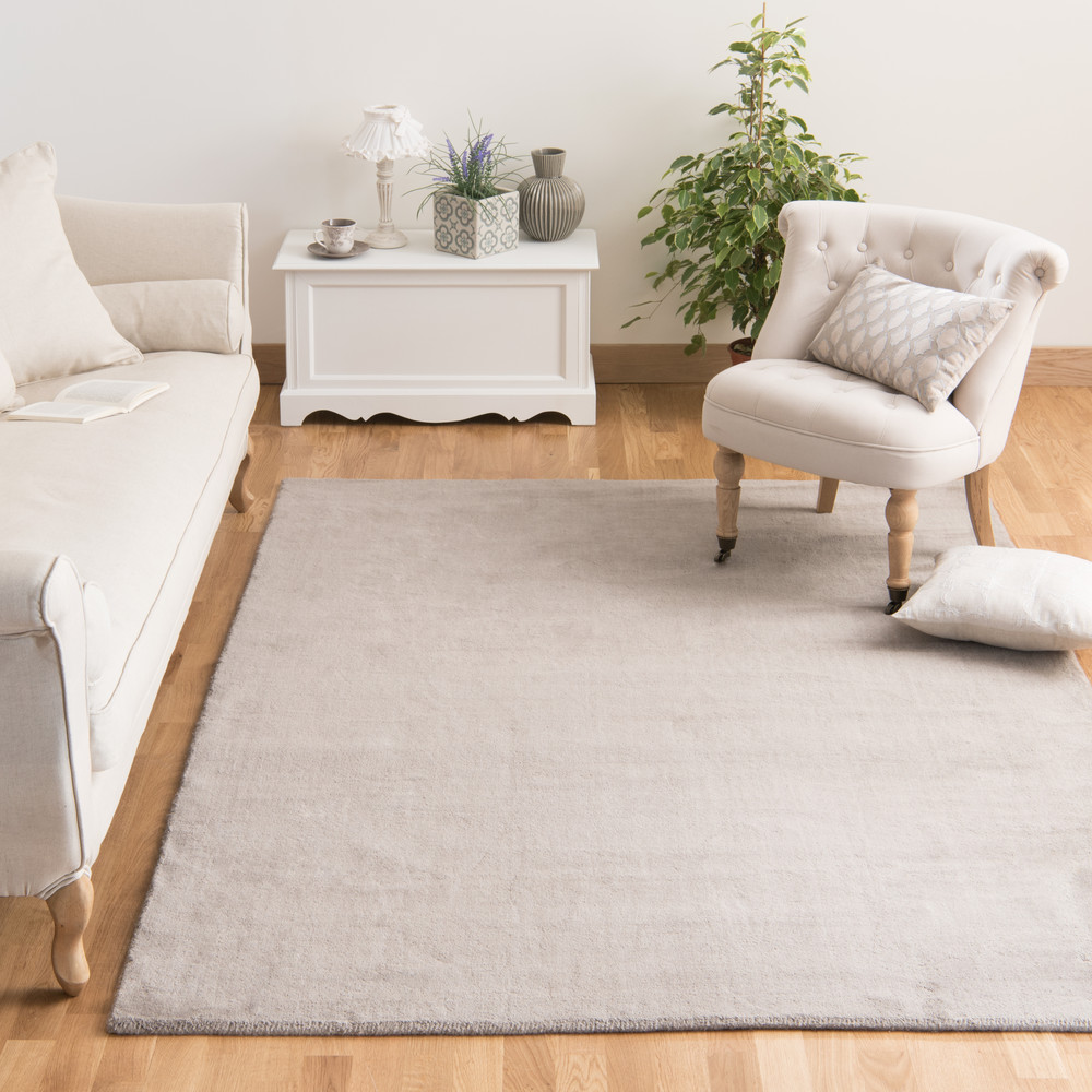 tapis poils courts en laine taupe clair 140 x 200 cm soft maisons du monde. Black Bedroom Furniture Sets. Home Design Ideas