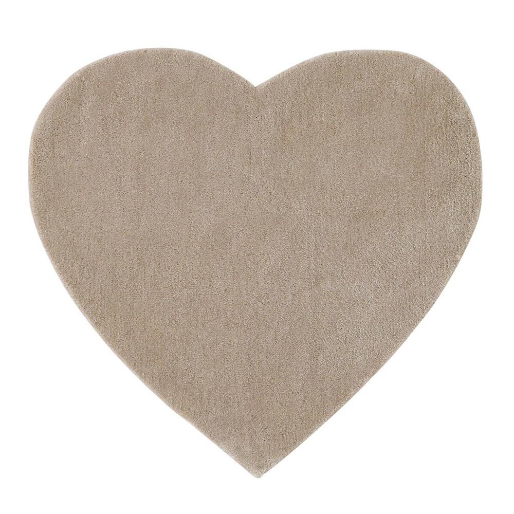 tapis poils courts en tissu taupe l 70 cm coeur maisons du monde. Black Bedroom Furniture Sets. Home Design Ideas