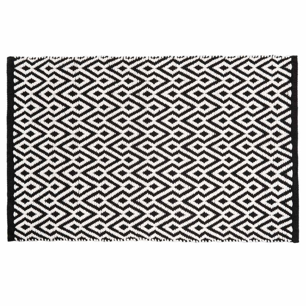 tapis poils courts et motifs en coton noir et blanc 60 x 90 cm ethnico maisons du monde. Black Bedroom Furniture Sets. Home Design Ideas