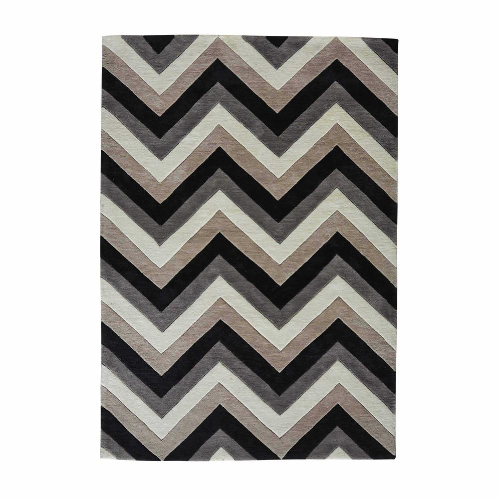 tapis 224 poils courts gris noir 140 x 200 cm maisons du monde