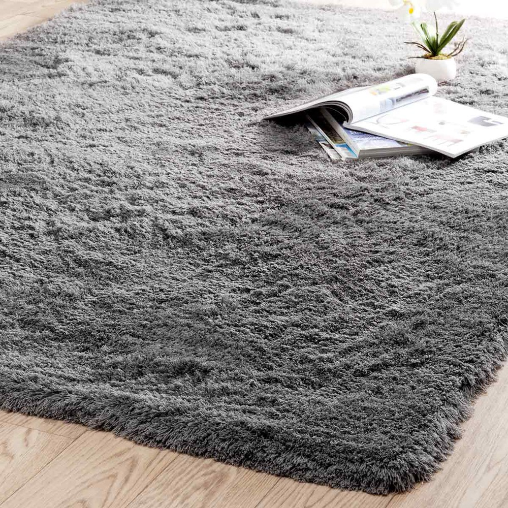 tapis poils longs en tissu gris 160 x 230 cm inuit maisons du monde. Black Bedroom Furniture Sets. Home Design Ideas