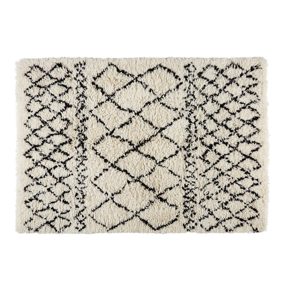 tapis berb re en laine et coton cru noir 140x200cm mounia. Black Bedroom Furniture Sets. Home Design Ideas