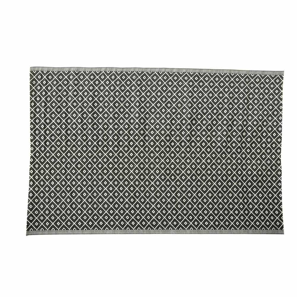 Tapis d 39 ext rieur en polypropyl ne noir et blanc 180 x 270 for Tapis coton noir et blanc