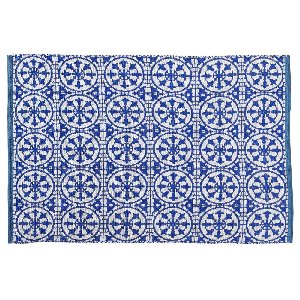 Tapis d 39 ext rieur en pvc bleu et blanc 160 x 230 cm for Tapis exterieur pvc