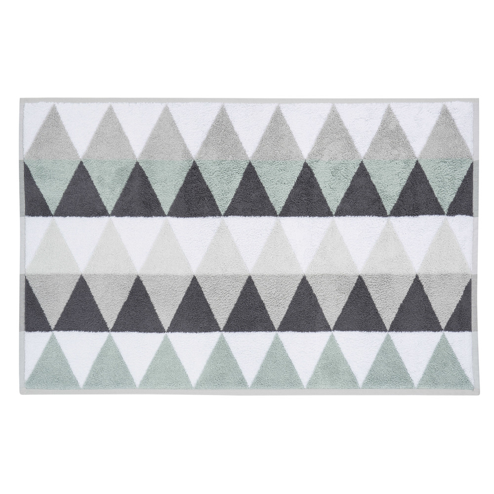 tapis de bain en coton blanc gris 50 x 80 cm triangle. Black Bedroom Furniture Sets. Home Design Ideas