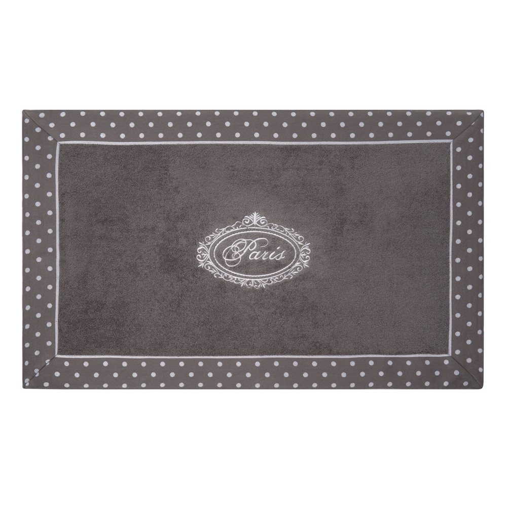 tapis de bain en coton gris 50 x 80 cm paris maisons du. Black Bedroom Furniture Sets. Home Design Ideas