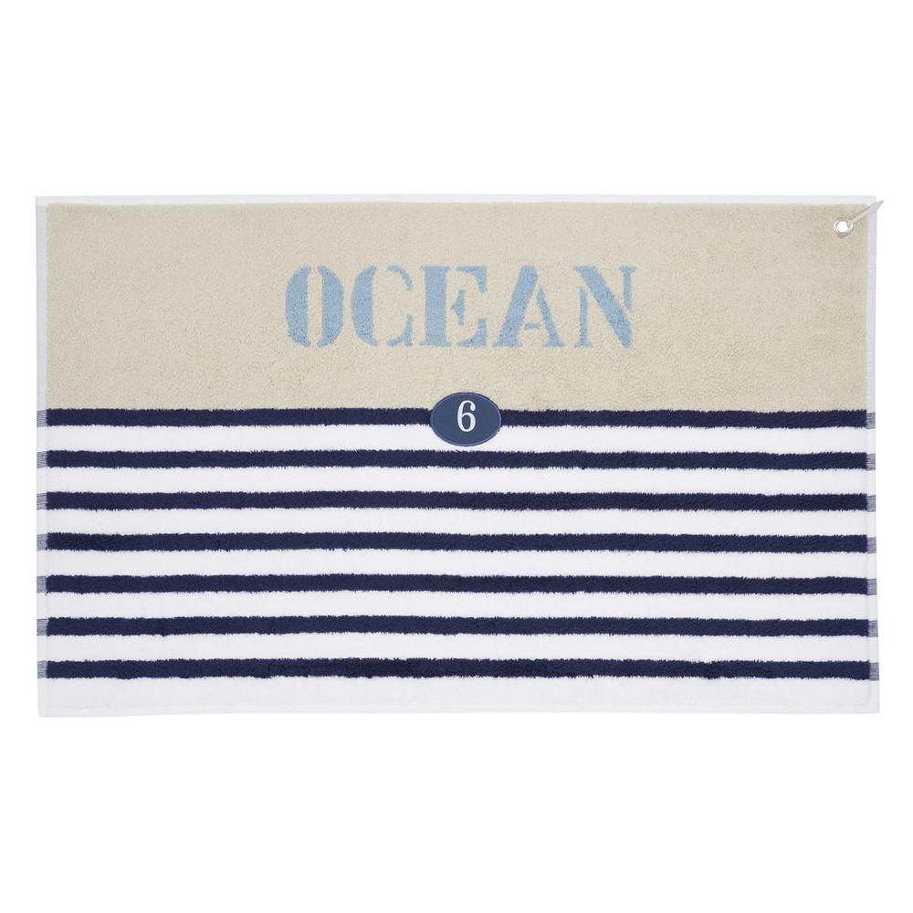 Tapis de bain ray en coton bleu 50 x 80 cm oc an - Tapis de bain maison du monde ...