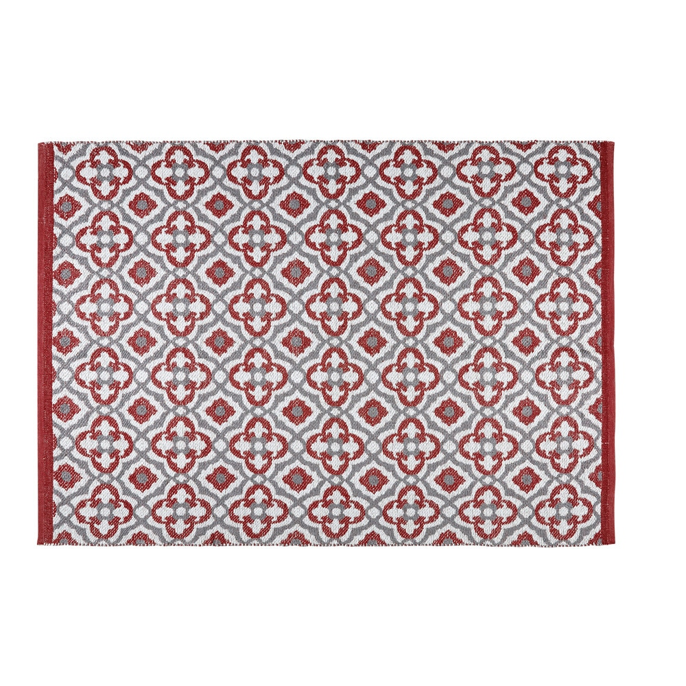 tapis de jardin motifs graphiques rouges et blancs 140x200cm saubriges maisons du monde. Black Bedroom Furniture Sets. Home Design Ideas