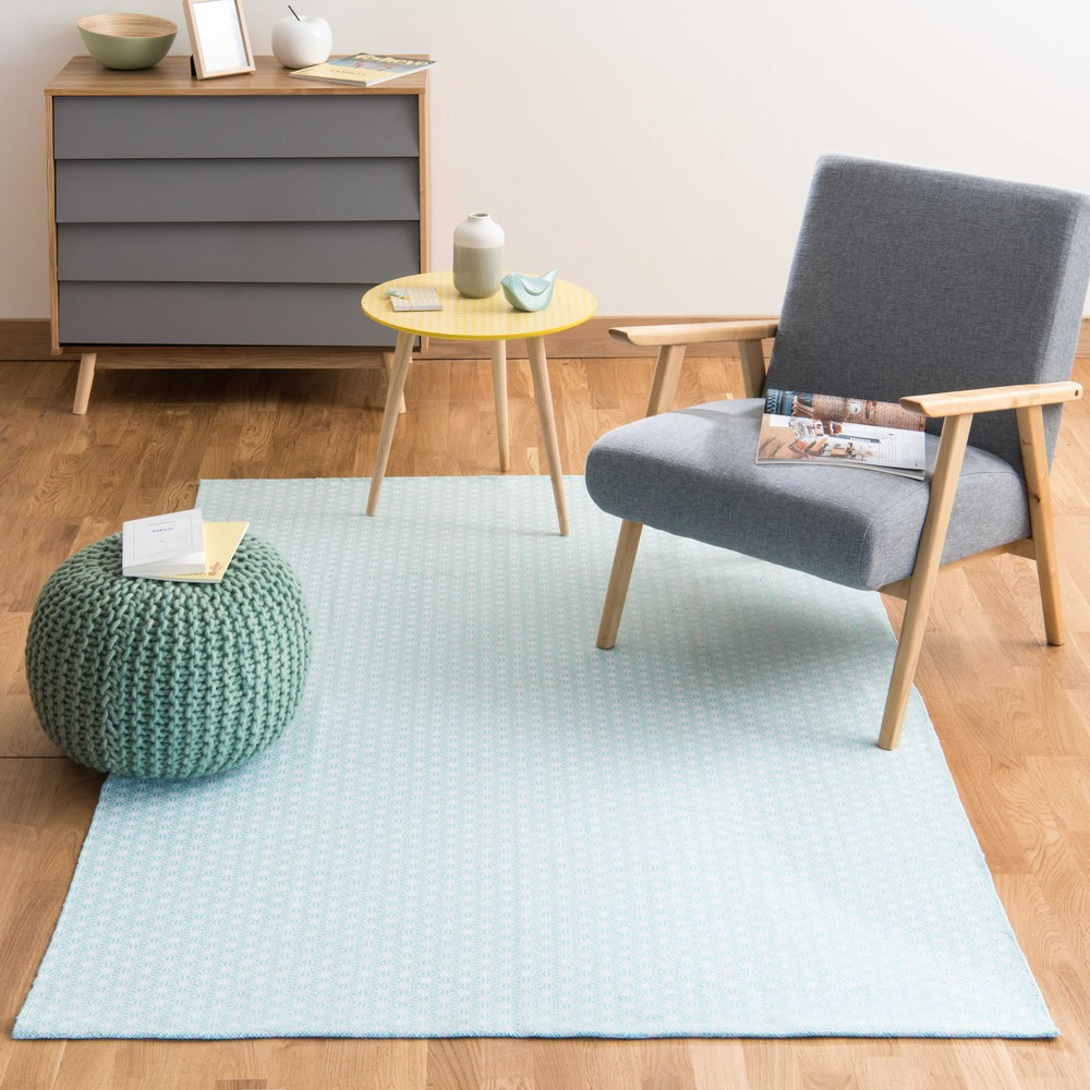 tapis en coton bleu 140 x 200 cm origami maisons du monde. Black Bedroom Furniture Sets. Home Design Ideas
