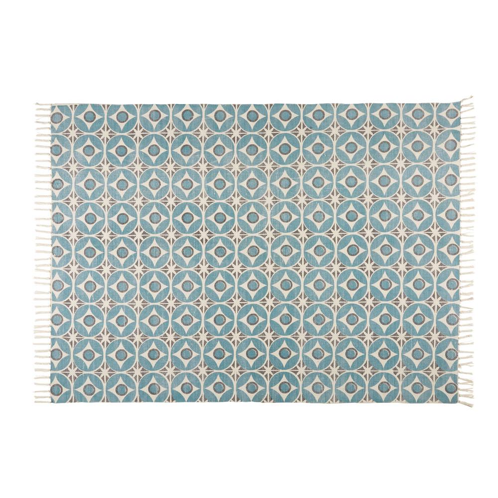 tapis en coton bleu motifs 140x200cm blocalia maisons du monde. Black Bedroom Furniture Sets. Home Design Ideas