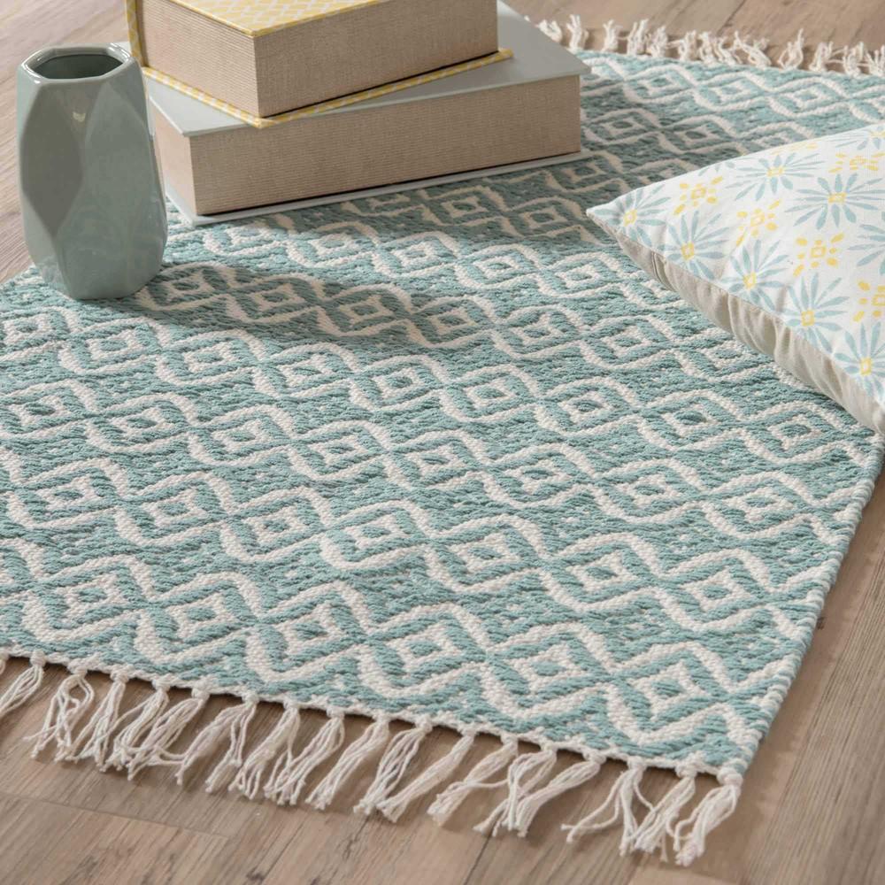 tapis en coton bleu motifs 60x90cm collioure maisons du monde. Black Bedroom Furniture Sets. Home Design Ideas