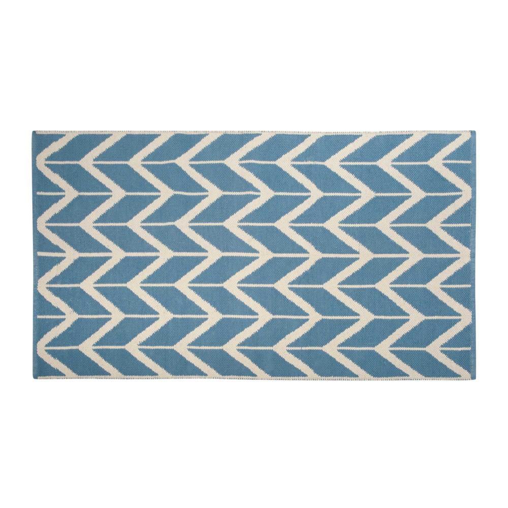 tapis en coton bleu cru 90 x 150 cm ponza maisons du monde. Black Bedroom Furniture Sets. Home Design Ideas