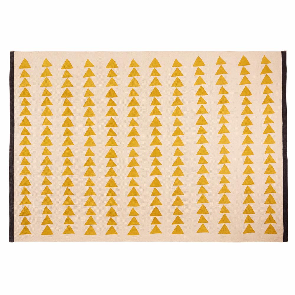 tapis en coton cru motifs jaunes 180x120cm naomi. Black Bedroom Furniture Sets. Home Design Ideas