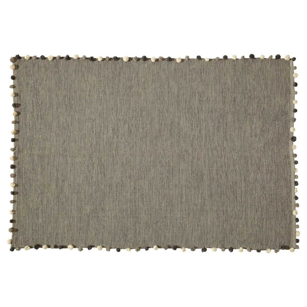 tapis en coton gris 120 x 180 cm pompon maisons du monde. Black Bedroom Furniture Sets. Home Design Ideas