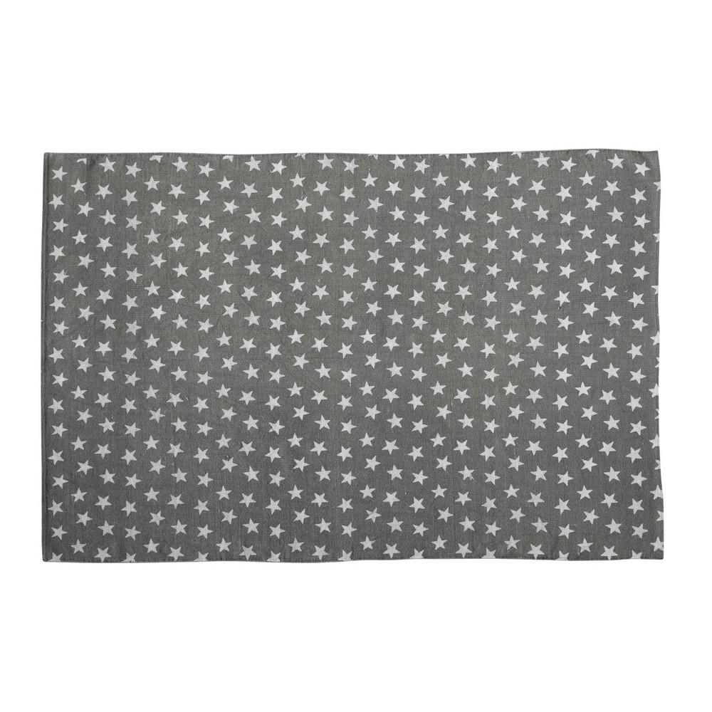 Tapis en coton gris 120 x 180 cm star maisons du monde - Tapis enfant maison du monde ...