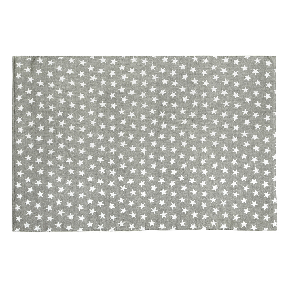 tapis en coton gris 120 x 180 cm star maisons du monde. Black Bedroom Furniture Sets. Home Design Ideas