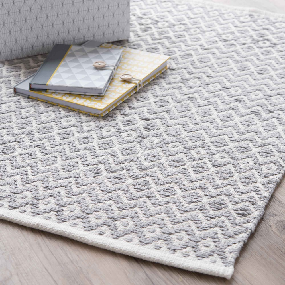 tapis en coton gris 60 x 90 cm tavira maisons du monde. Black Bedroom Furniture Sets. Home Design Ideas