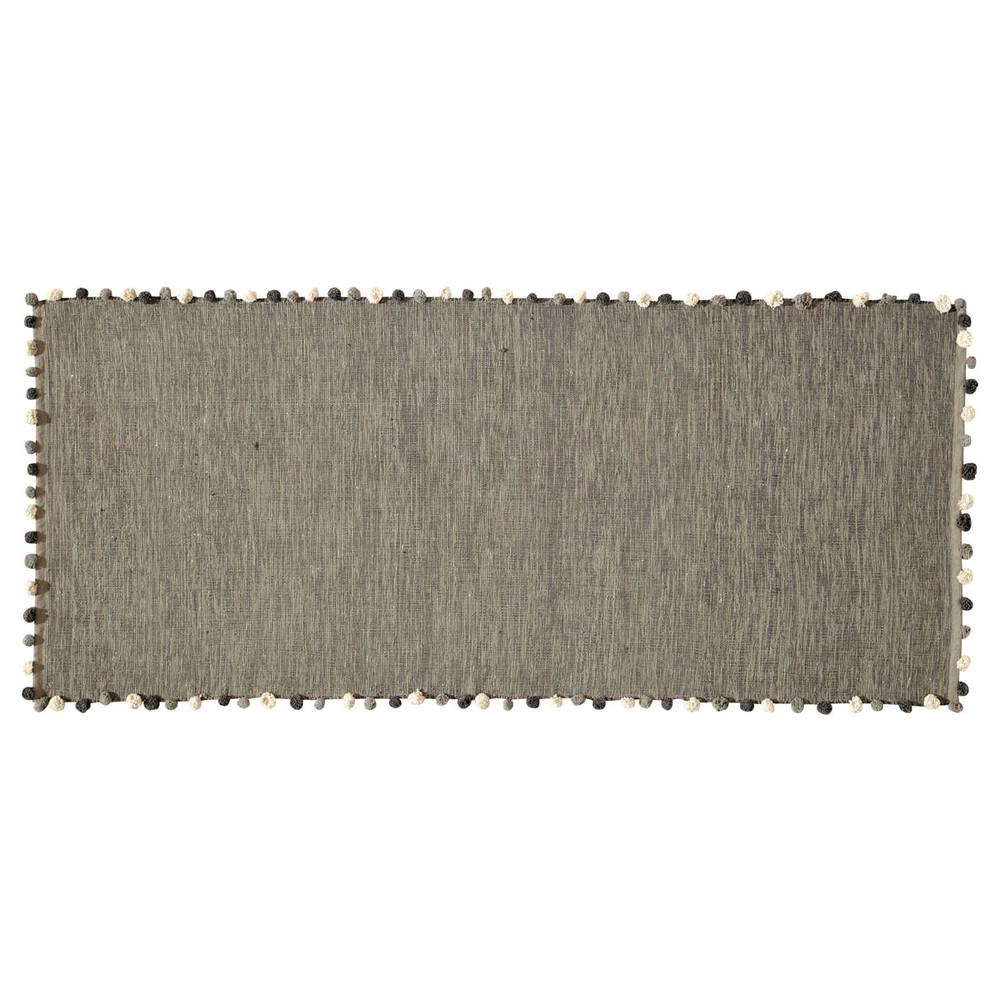 tapis en coton gris 80 x 200 cm pompon maisons du monde. Black Bedroom Furniture Sets. Home Design Ideas