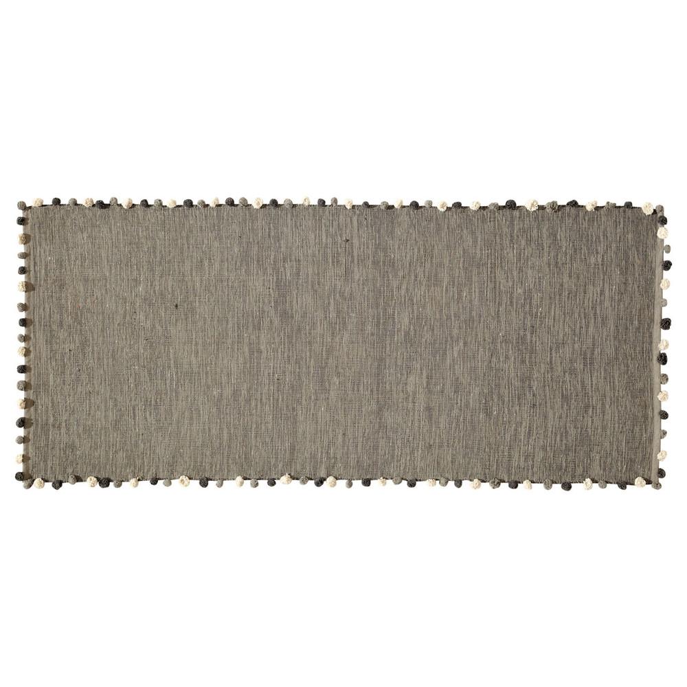 tapis en coton gris 80 x 200 cm pompon maisons du monde. Black Bedroom Furniture Sets. Home Design Ideas