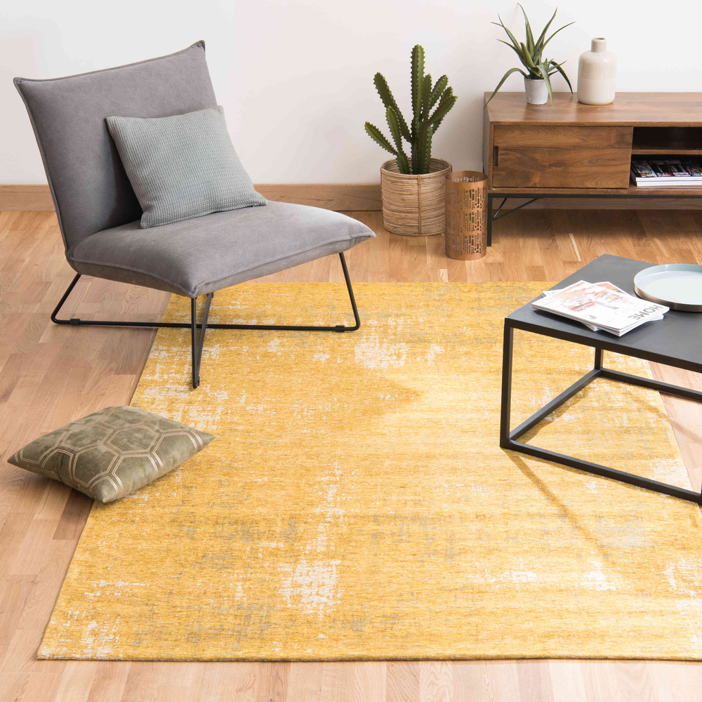 tapis en coton jaune moutarde 140 x 200 cm feel maisons du monde. Black Bedroom Furniture Sets. Home Design Ideas