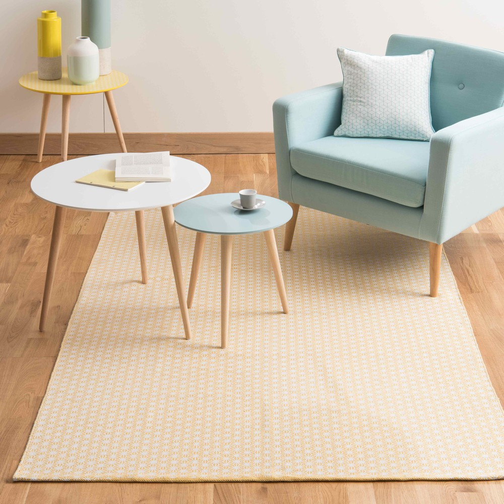 tapis en coton jaune moutarde 140 x 200 cm origami maisons du monde. Black Bedroom Furniture Sets. Home Design Ideas