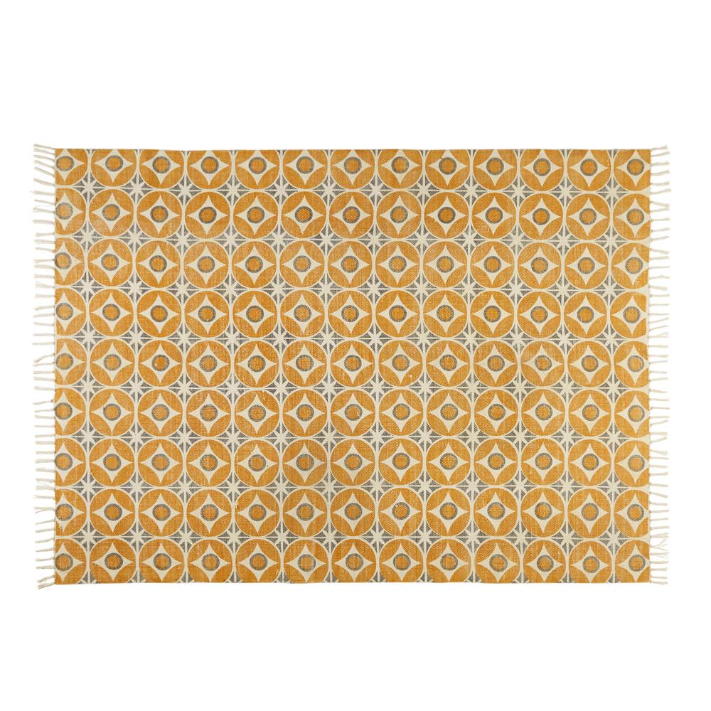 tapis en coton motifs carreaux de ciment jaune moutarde. Black Bedroom Furniture Sets. Home Design Ideas