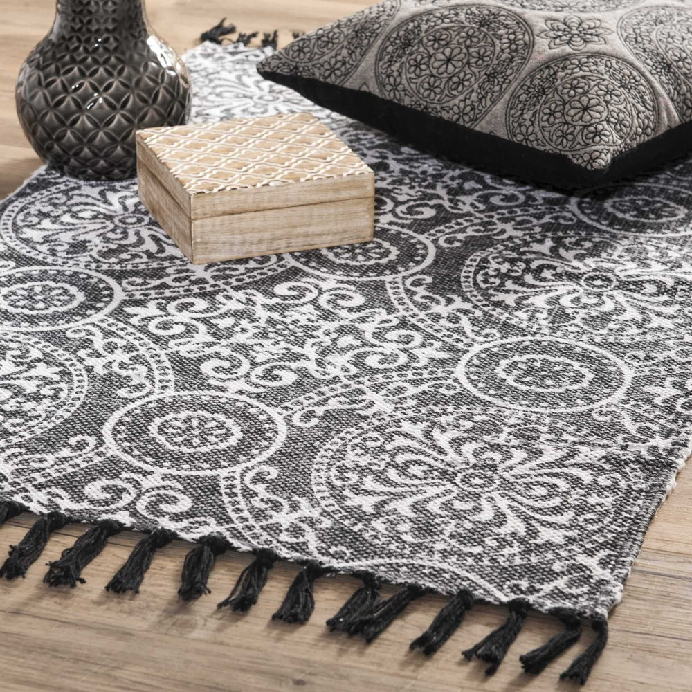 tapis en coton noir 60 x 90 cm palerme maisons du monde. Black Bedroom Furniture Sets. Home Design Ideas