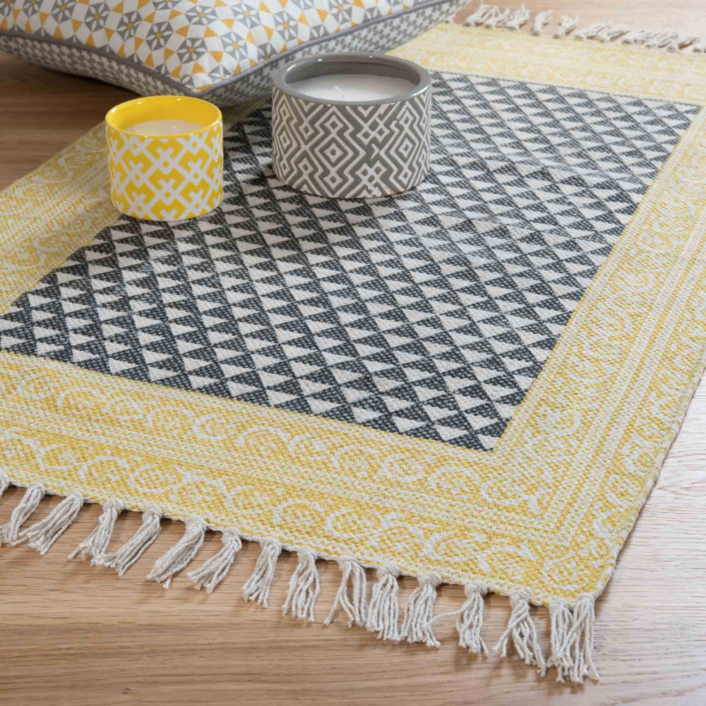 tapis en coton noir blanc 60 x 90 cm medan maisons du monde. Black Bedroom Furniture Sets. Home Design Ideas