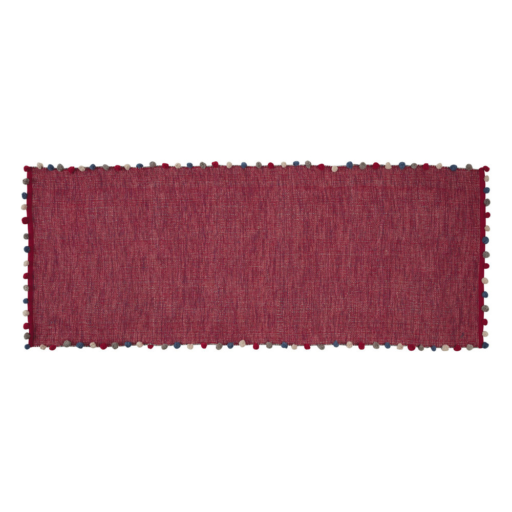 tapis en coton rose fuchsia 80 x 200 cm pompon maisons du monde. Black Bedroom Furniture Sets. Home Design Ideas