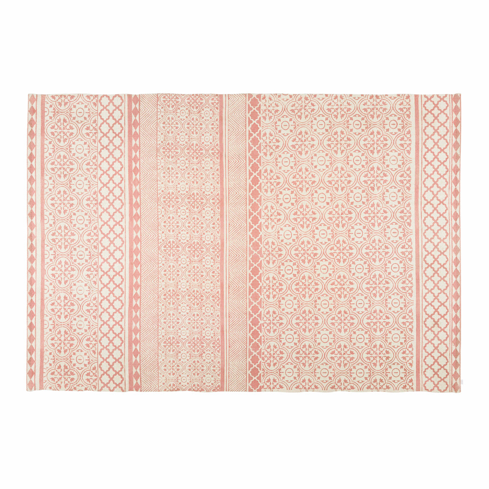 tapis en coton rose motifs graphiques 160x230cm boheme maisons du monde. Black Bedroom Furniture Sets. Home Design Ideas
