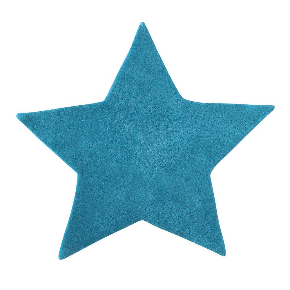 Tapis en coton turquoise h 100 cm toile maisons du monde - Tapis enfant maison du monde ...