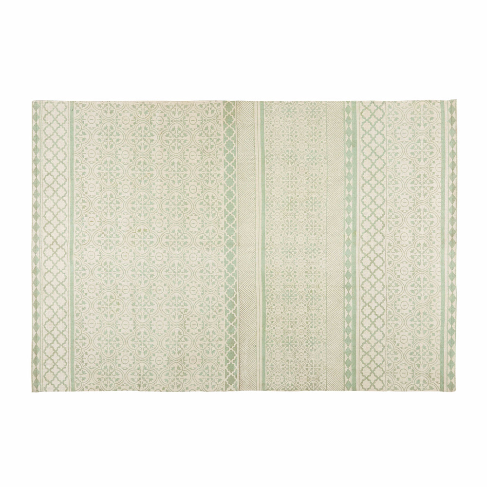 tapis en coton vert d 39 eau 200x140cm boheme maisons du monde. Black Bedroom Furniture Sets. Home Design Ideas