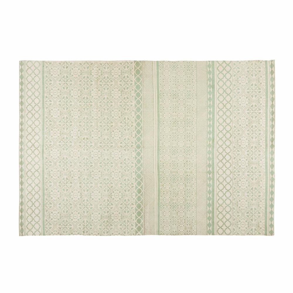 tapis en coton vert d 39 eau motifs graphiques 160x230cm boheme maisons du monde. Black Bedroom Furniture Sets. Home Design Ideas