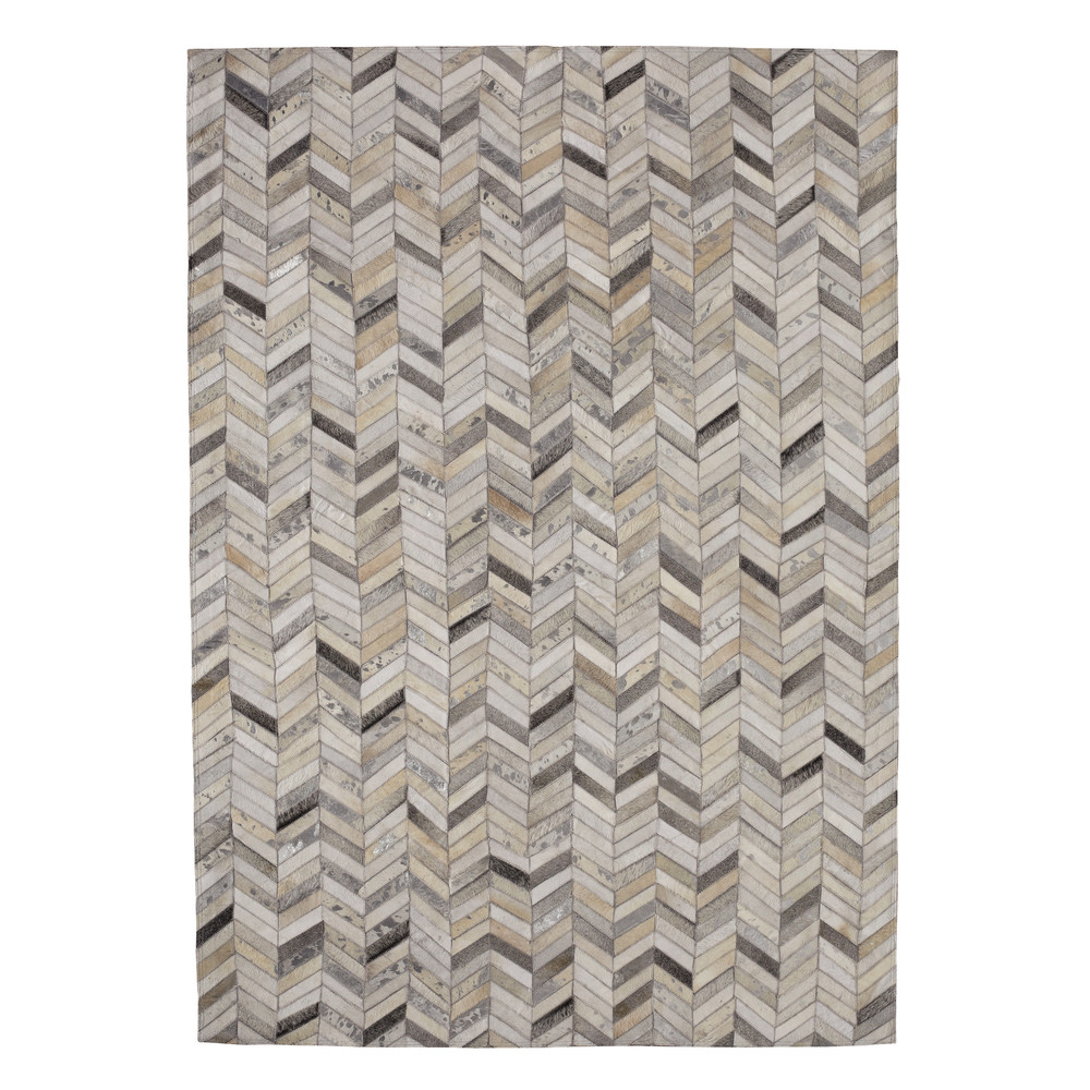 tapis en cuir argent 140 x 200 cm zigzag maisons du monde. Black Bedroom Furniture Sets. Home Design Ideas